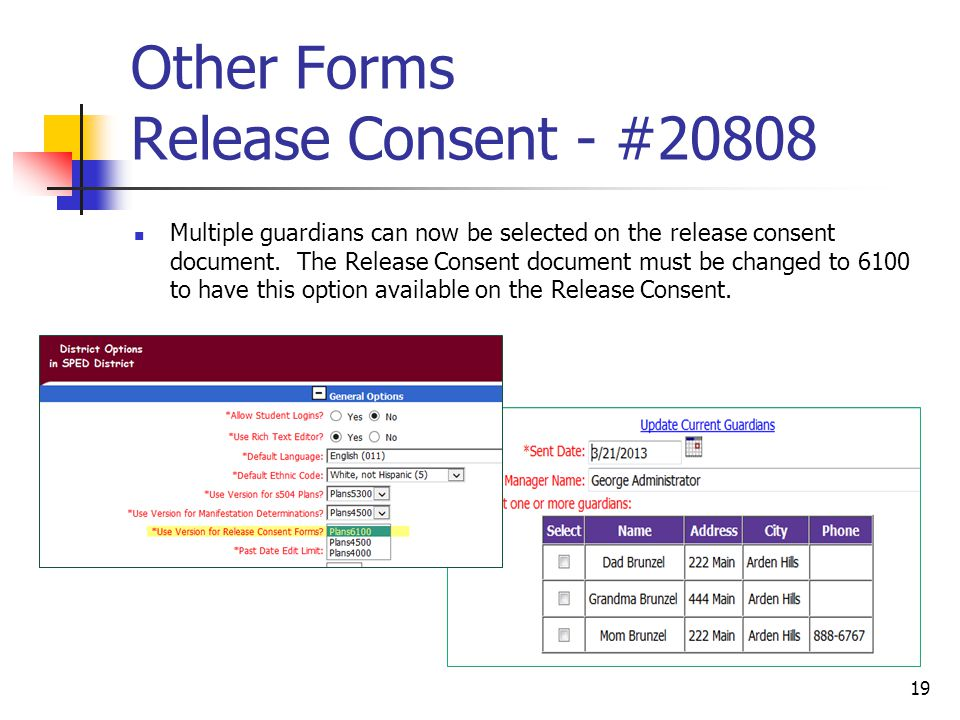 Other Forms Release Consent - #20808 Multiple guardians can now be selected on the release consent document.