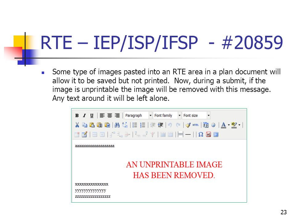 RTE – IEP/ISP/IFSP - #20859 Some type of images pasted into an RTE area in a plan document will allow it to be saved but not printed.