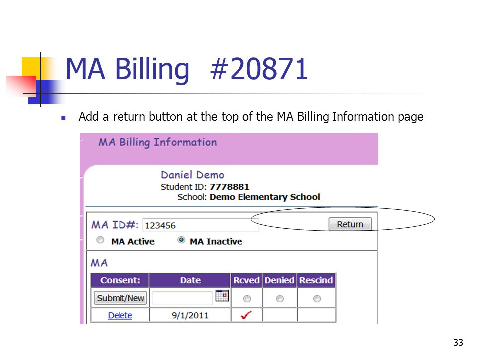 MA Billing #20871 Add a return button at the top of the MA Billing Information page 33