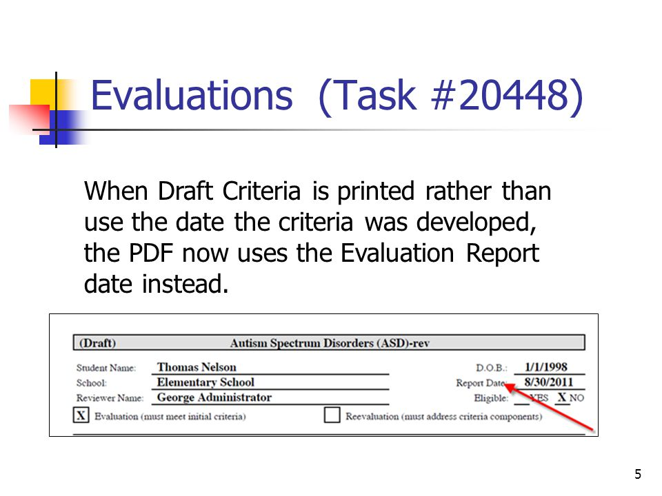Evaluations (Task #20448) 5 When Draft Criteria is printed rather than use the date the criteria was developed, the PDF now uses the Evaluation Report date instead.