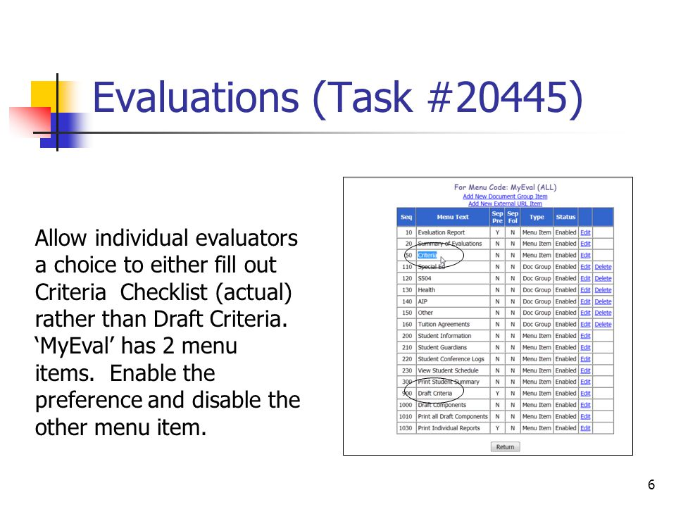 Evaluations (Task #20452) After this fix, when an evaluation plan is amended, the amended procedures are not added to the evaluation report immediately.