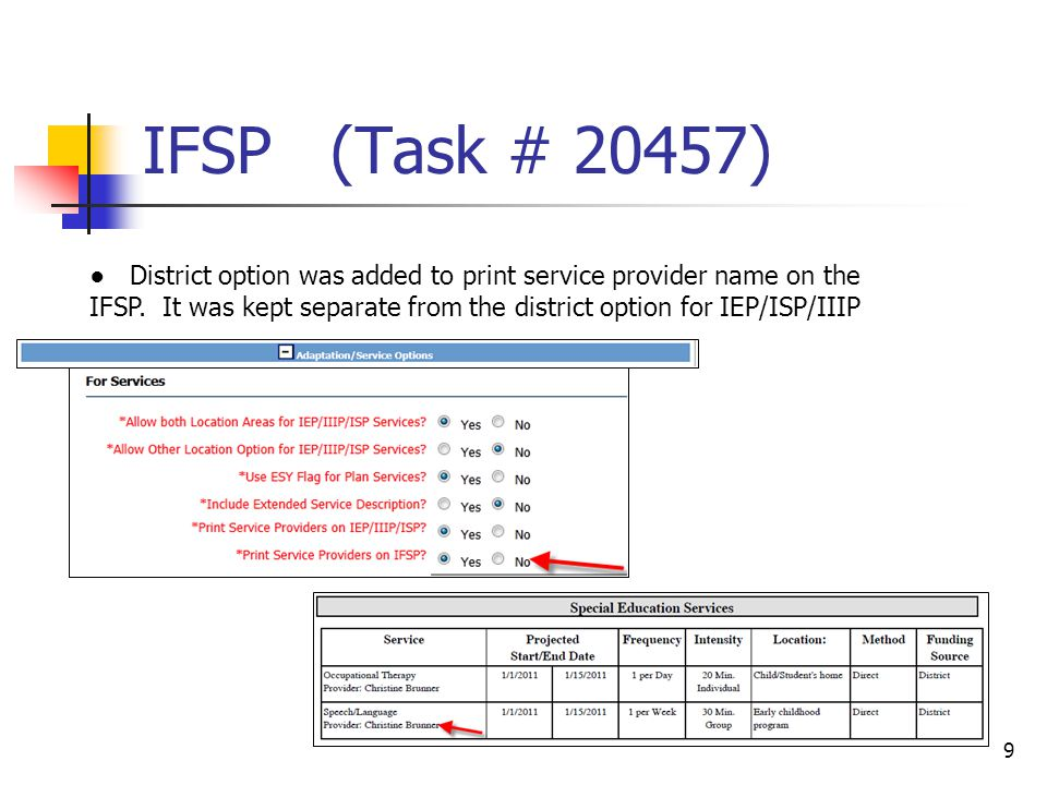 IFSP (Task # 20457) 9 ● District option was added to print service provider name on the IFSP.