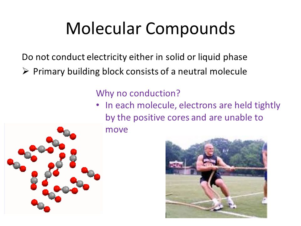 Further implications for molecular compounds Low melting & boiling point  Though interactions between atoms in a molecule are strong….the interactions between individual molecules are relatively weak Example: The Halogens F 2 & Cl 2 both gases at RT (RT is above their BP) Br 2 is liquid at RT (RT is greater than its MP, but lower than its BP) I 2 is a solid at RT (RT is lower than its MP)