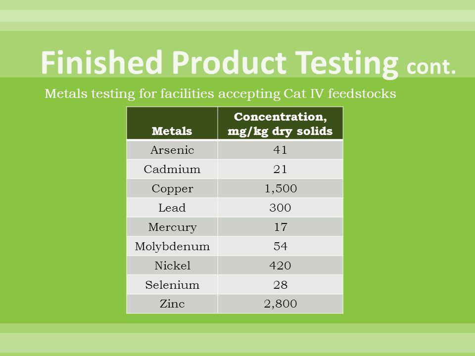 Metals Concentration, mg/kg dry solids Arsenic41 Cadmium21 Copper1,500 Lead300 Mercury17 Molybdenum54 Nickel420 Selenium28 Zinc2,800 Metals testing fo