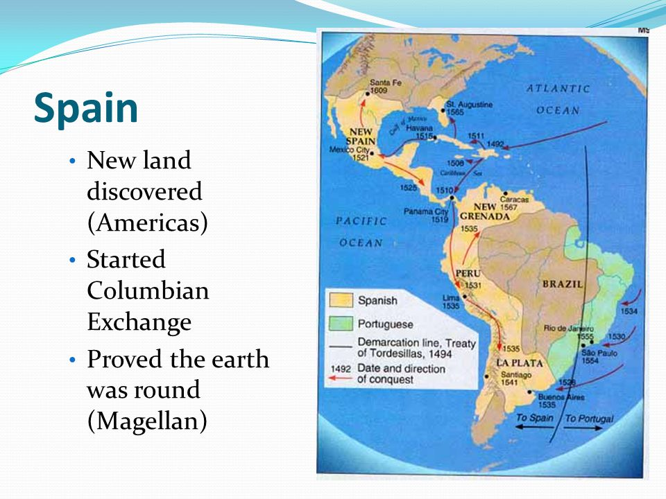 Spain New land discovered (Americas) Started Columbian Exchange Proved the earth was round (Magellan)