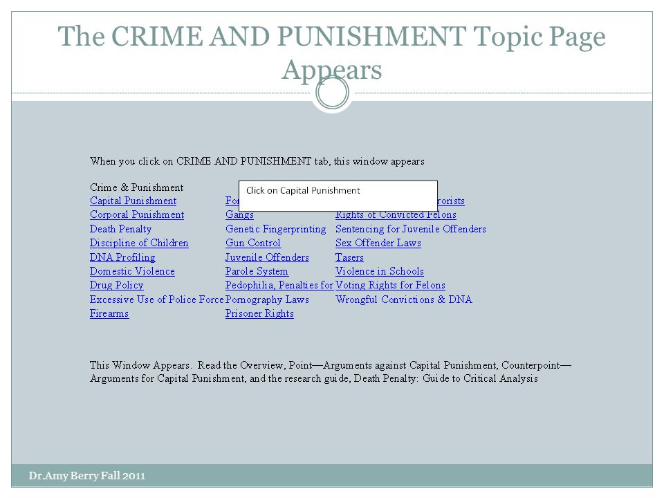 The CRIME AND PUNISHMENT Topic Page Appears Dr.Amy Berry Fall 2011