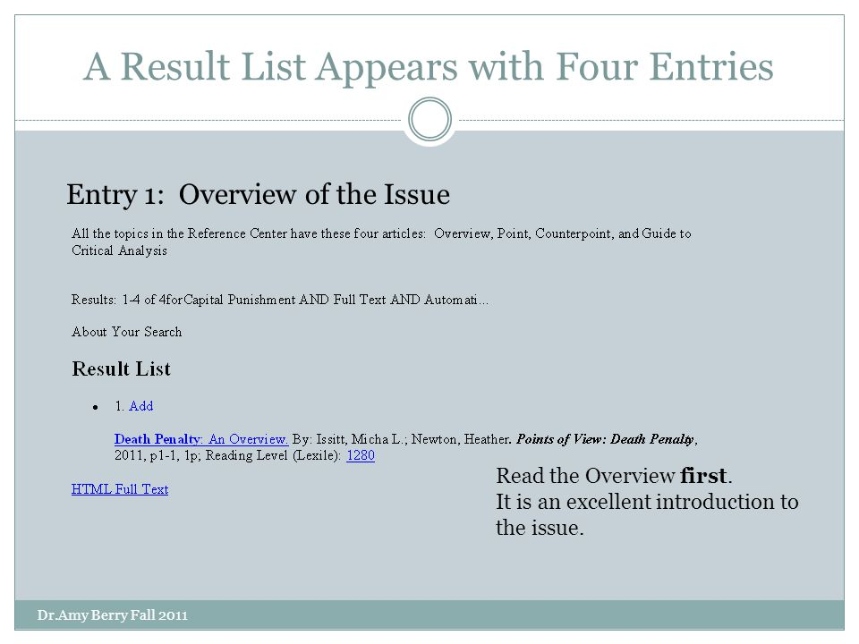 A Result List Appears with Four Entries Read the Overview first.