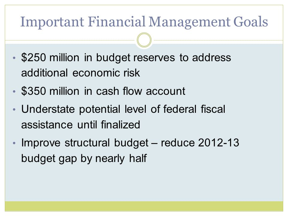Important Financial Management Goals $250 million in budget reserves to address additional economic risk $350 million in cash flow account Understate potential level of federal fiscal assistance until finalized Improve structural budget – reduce 2012-13 budget gap by nearly half
