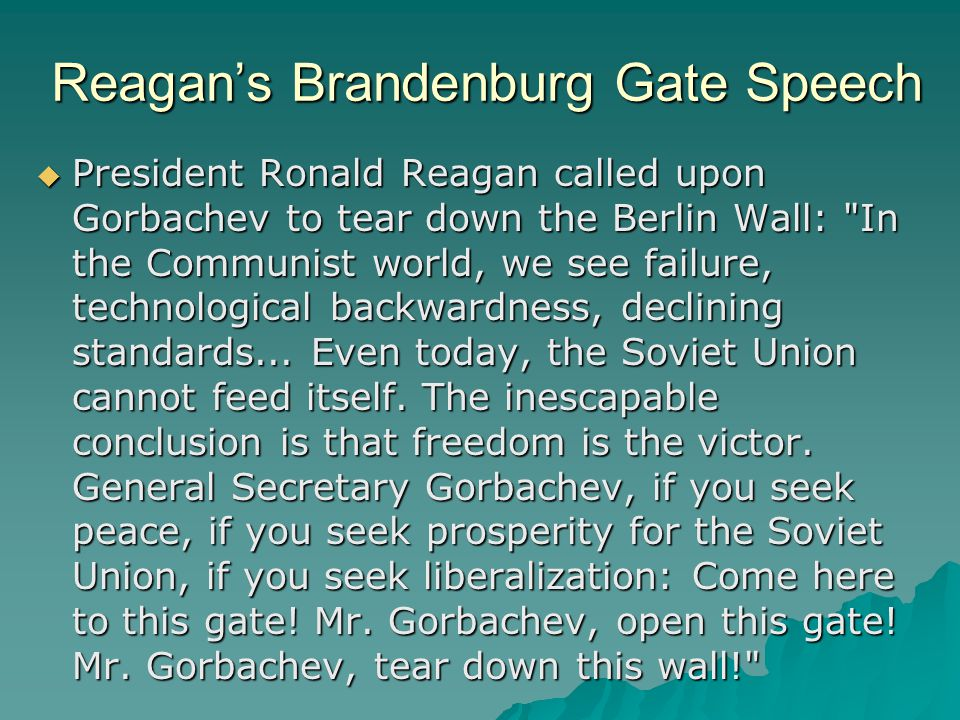 President Reagan giving a speech at the Berlin Wall, Brandenburg Gate, Federal Republic of Germany.