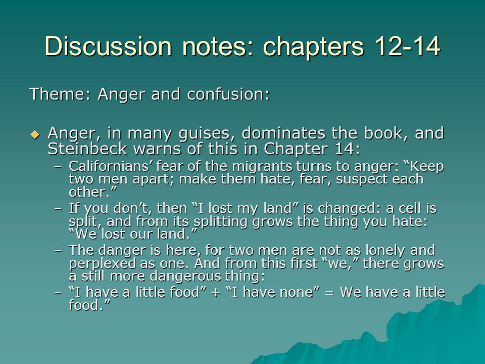 Discussion notes: Chapters 12-14 –This spontaneous sharing is seen when the Wilsons offer their tent for Grandpa to die in; Mrs.