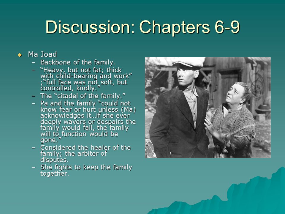 Discussion: Chapters 6-9  Ma Joad –Backbone of the family.