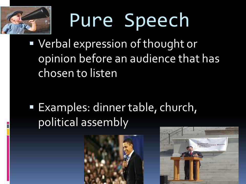 Symbolic Speech  Using actions or symbols, with or without words, to express opinions  Ex.