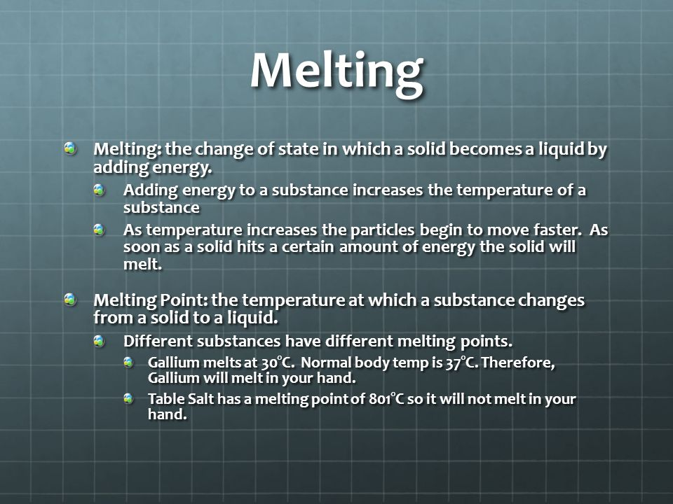 Adding and Subtracting Energy Endothermic: when energy is added to a substance as it changes state. Means the object was heated-up Exothermic: when en