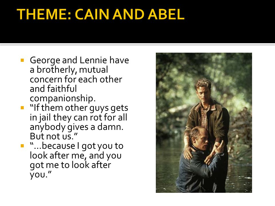  George and Lennie have a brotherly, mutual concern for each other and faithful companionship.