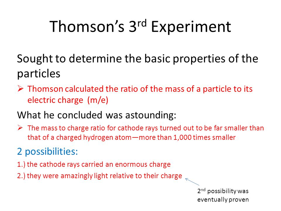 Summary of Thomson's Findings Discovered the electron (negatively charged subatomic particle) in 1897 Developed the plum pudding model in 1904  Probably easier to call it the watermelon model Seeds: negative particles Fruit: positively charged low density material