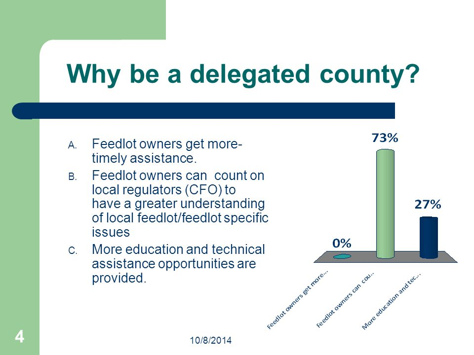 10/8/2014 4 Why be a delegated county. A. Feedlot owners get more- timely assistance.