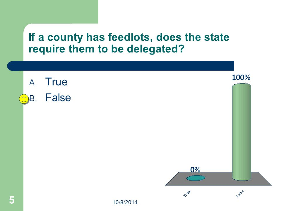 If a county has feedlots, does the state require them to be delegated? A. True B. False 10/8/2014 5