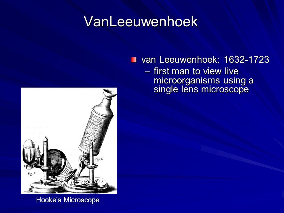 VanLeeuwenhoek van Leeuwenhoek: 1632-1723 –first man to view live microorganisms using a single lens microscope Hooke's Microscope