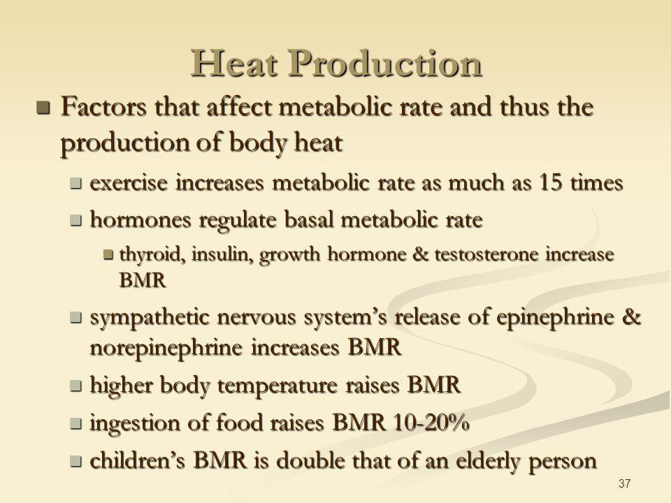 36 Metabolic Rate Rate at which metabolic reactions use energy Rate at which metabolic reactions use energy energy used to produce heat or ATP energy