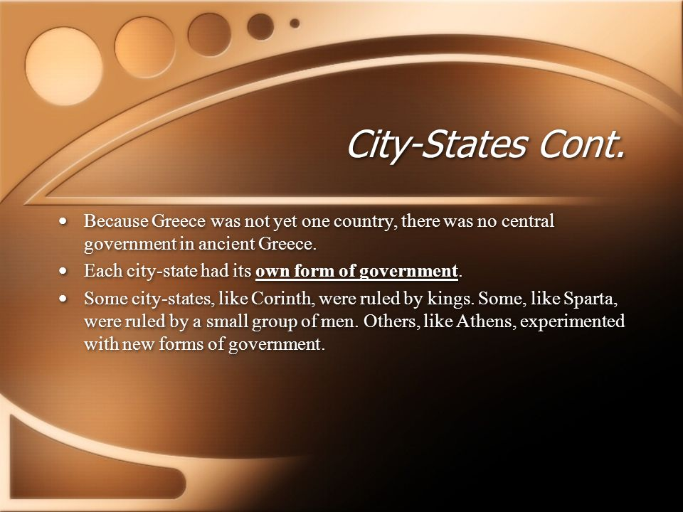 Types of Government Four Forms of Government Monarchy: Rule by a king Oligarchy: Rule by a small group Tyranny: Rule by a dictator Democracy: Rule by the citizens, voting in an assembly Four Forms of Government Monarchy: Rule by a king Oligarchy: Rule by a small group Tyranny: Rule by a dictator Democracy: Rule by the citizens, voting in an assembly