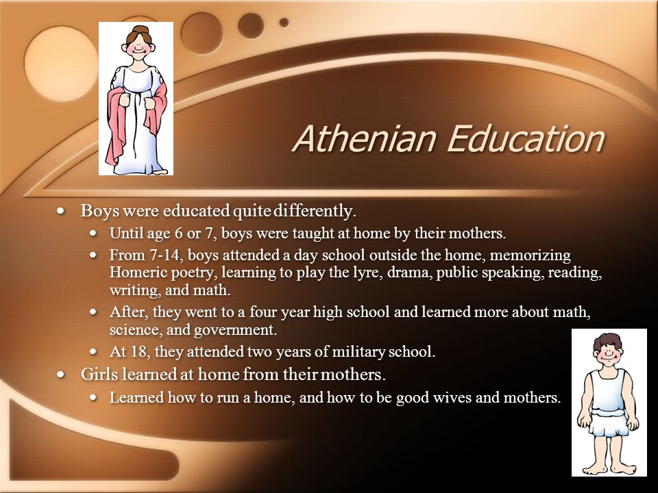 Athenian Education Boys were educated quite differently. Until age 6 or 7, boys were taught at home by their mothers. From 7-14, boys attended a day s