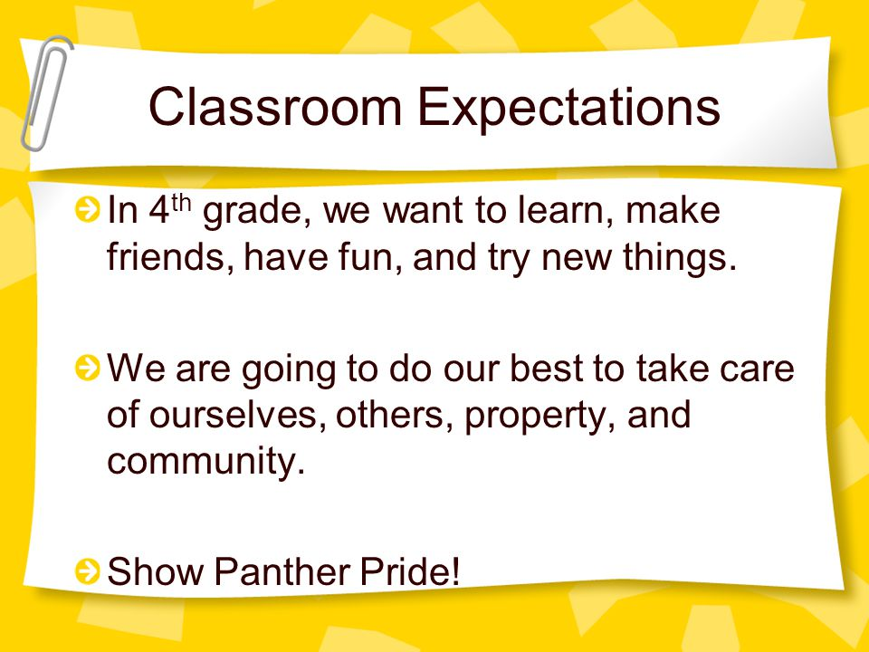 Classroom Expectations In 4 th grade, we want to learn, make friends, have fun, and try new things.