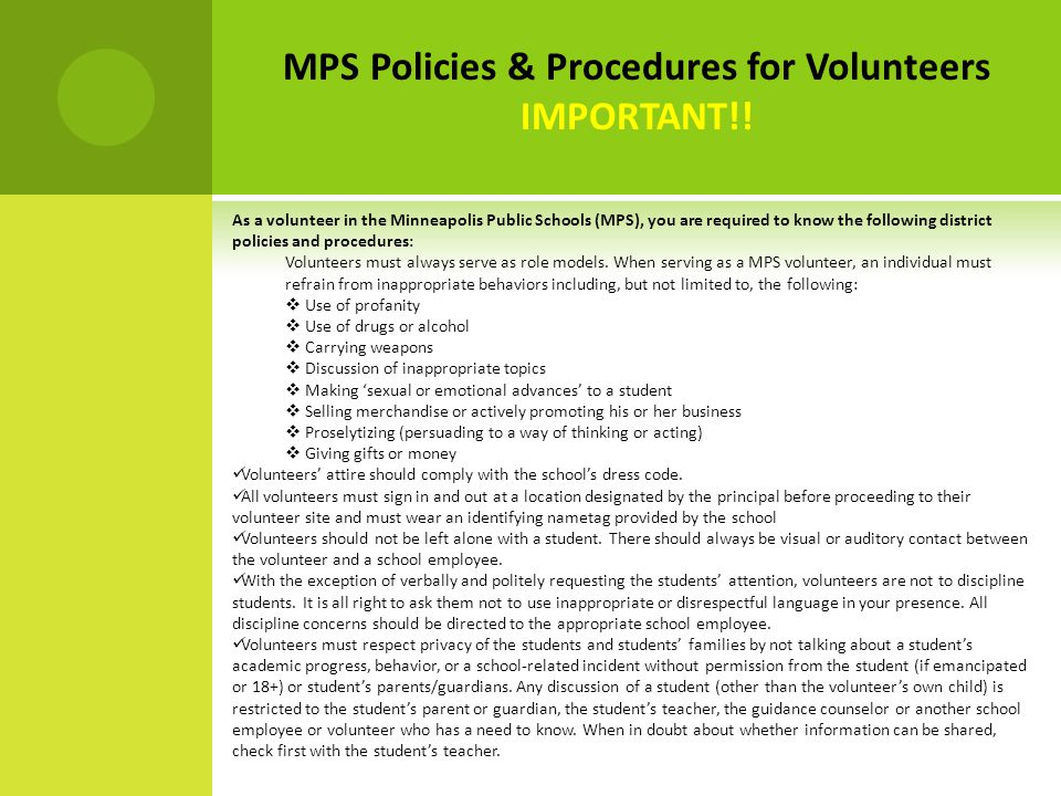 MPS Policies & Procedures for Volunteers IMPORTANT!.