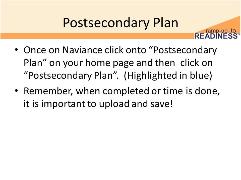 Postsecondary Plan