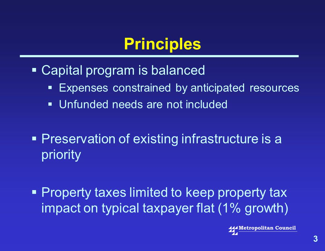 3 Principles  Capital program is balanced  Expenses constrained by anticipated resources  Unfunded needs are not included  Preservation of existing infrastructure is a priority  Property taxes limited to keep property tax impact on typical taxpayer flat (1% growth)