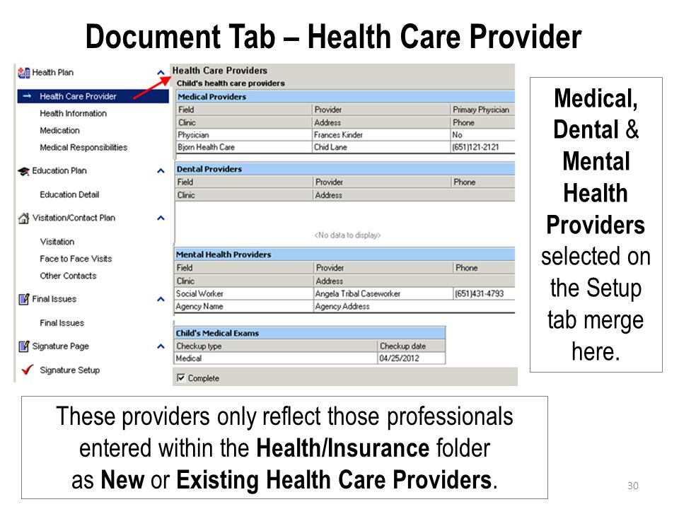 Document Tab – Health Care Provider Medical, Dental & Mental Health Providers selected on the Setup tab merge here. These providers only reflect those