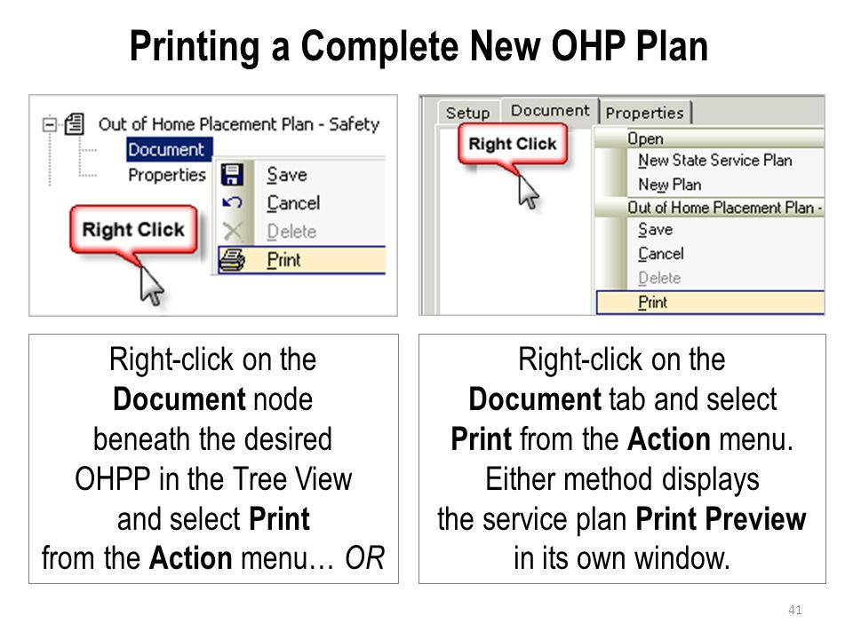 Printing a Complete New OHP Plan Right-click on the Document node beneath the desired OHPP in the Tree View and select Print from the Action menu… OR