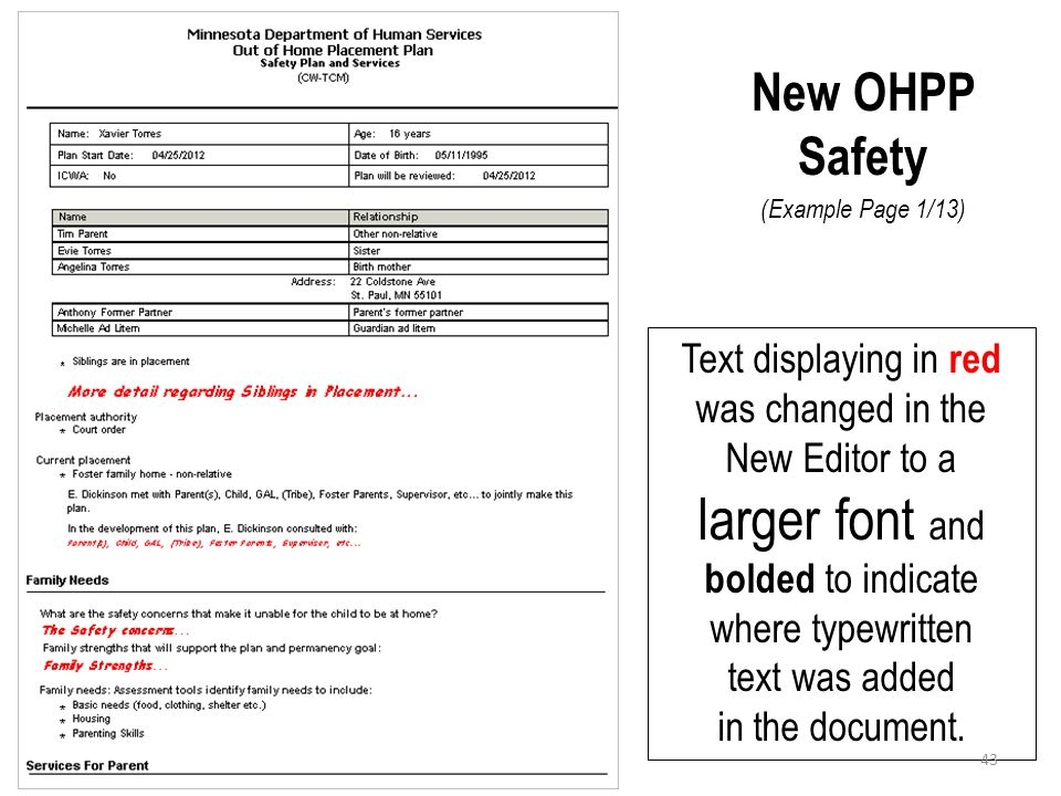 New OHPP Safety (Example Page 1/13) Text displaying in red was changed in the New Editor to a larger font and bolded to indicate where typewritten tex