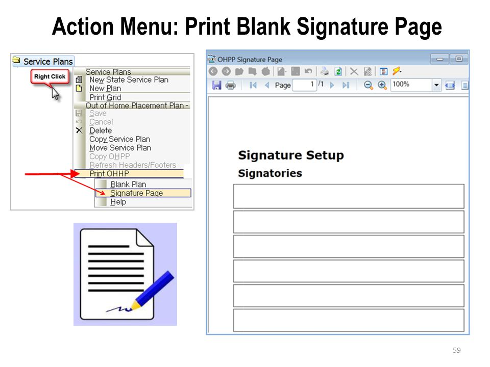 59 Action Menu: Print Blank Signature Page