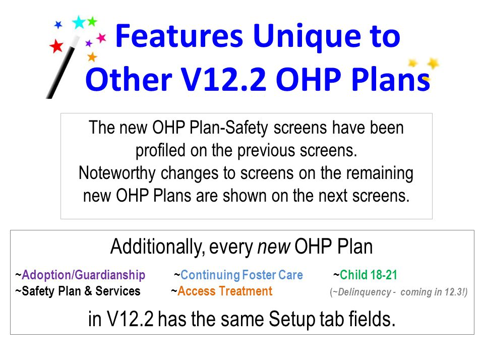 The new OHP Plan-Safety screens have been profiled on the previous screens. Noteworthy changes to screens on the remaining new OHP Plans are shown on