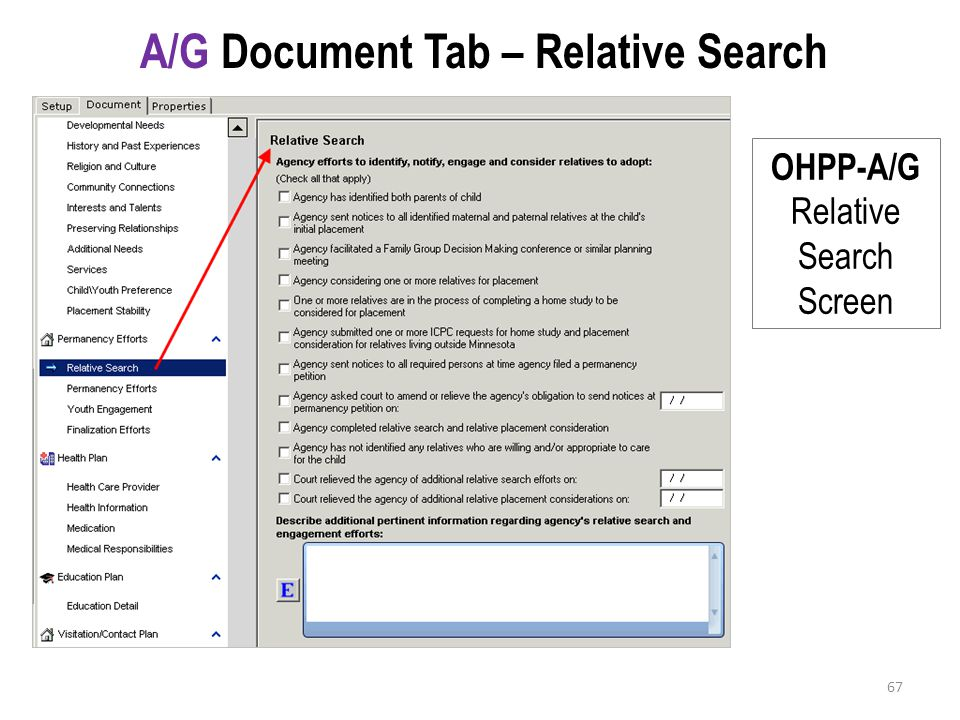 A/G Document Tab – Relative Search OHPP-A/G Relative Search Screen 67