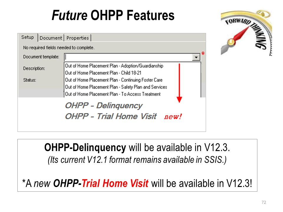 Future OHPP Features OHPP-Delinquency will be available in V12.3. (Its current V12.1 format remains available in SSIS.) *A new OHPP-Trial Home Visit w