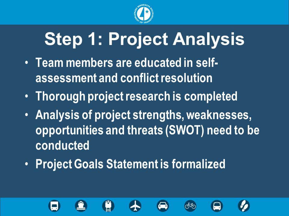 Step 1: Project Analysis Team members are educated in self- assessment and conflict resolution Thorough project research is completed Analysis of proj