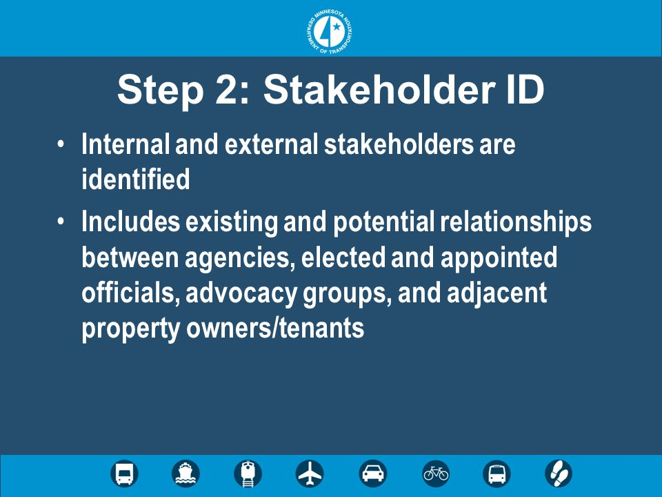 Step 2: Stakeholder ID Internal and external stakeholders are identified Includes existing and potential relationships between agencies, elected and appointed officials, advocacy groups, and adjacent property owners/tenants