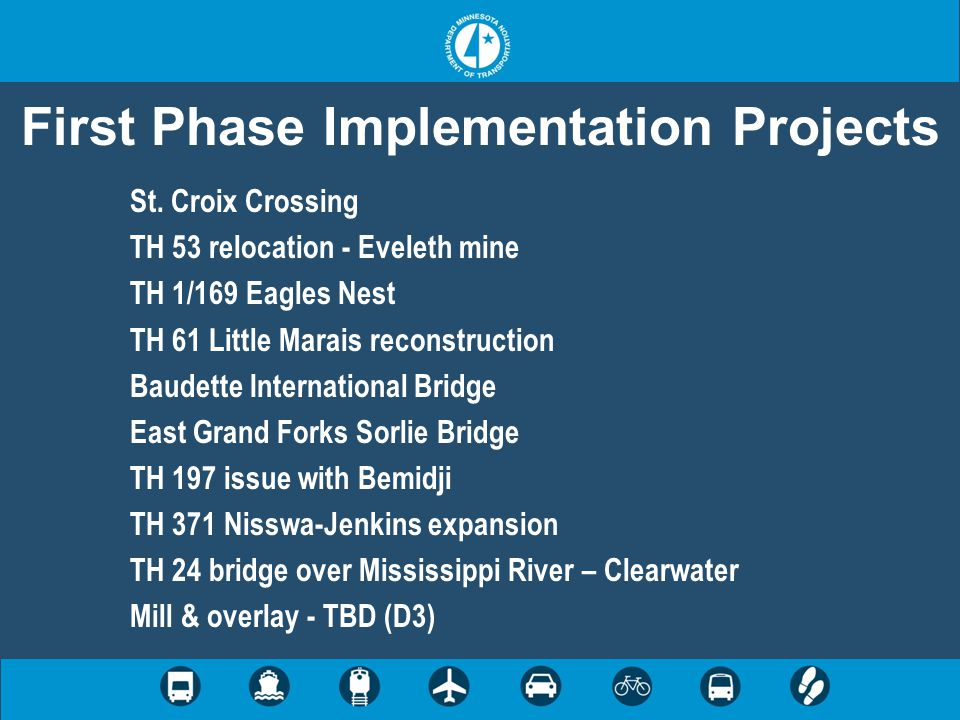 First Phase Implementation Projects St. Croix Crossing TH 53 relocation - Eveleth mine TH 1/169 Eagles Nest TH 61 Little Marais reconstruction Baudett