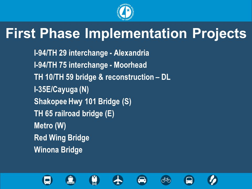 First Phase Implementation Projects I-94/TH 29 interchange - Alexandria I-94/TH 75 interchange - Moorhead TH 10/TH 59 bridge & reconstruction – DL I-3