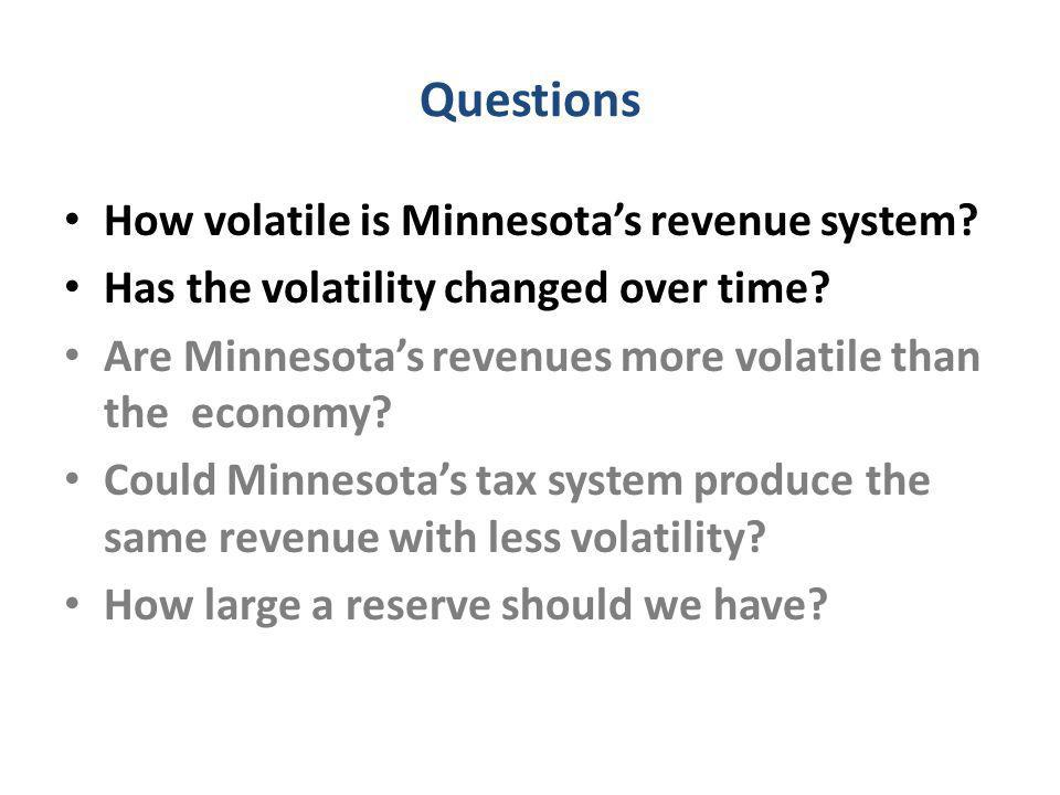 Questions How volatile is Minnesota's revenue system.