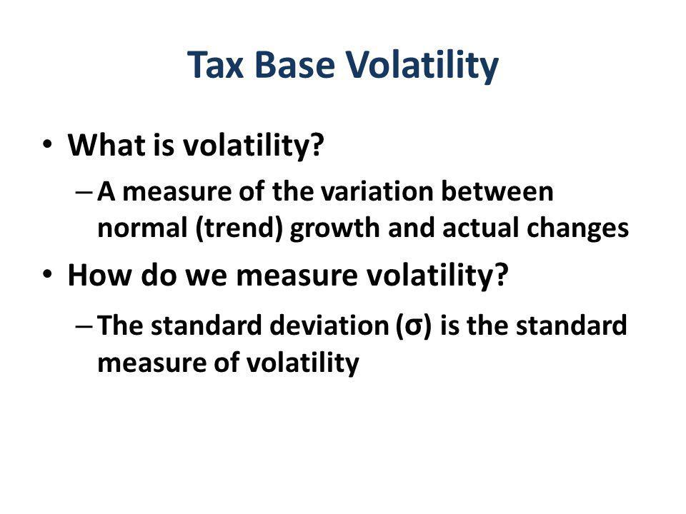 Tax Base Volatility What is volatility.