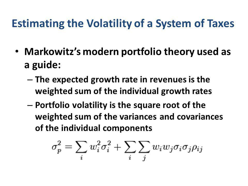 Estimating the Volatility of a System of Taxes Markowitz's modern portfolio theory used as a guide: – The expected growth rate in revenues is the weighted sum of the individual growth rates – Portfolio volatility is the square root of the weighted sum of the variances and covariances of the individual components