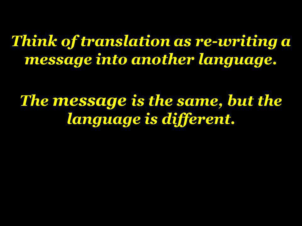 Think of translation as re-writing a message into another language.