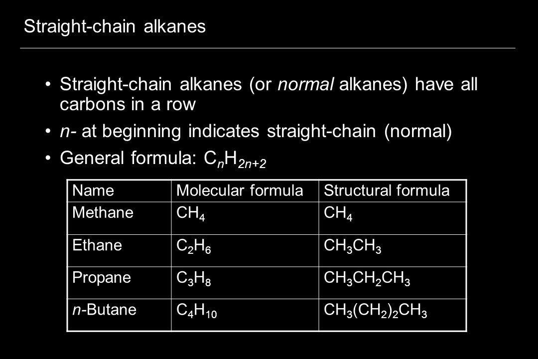 Straight-chain alkanes (5 C through 10 C) For straight-chain alkanes 5 C through 10 C, use Greek prefix followed by -ane NameMolecular formulaStructural formula n-pentaneC 5 H 12 CH 3 (CH 2 ) 3 CH 3 n-hexaneC 6 H 14 CH 3 (CH 2 ) 4 CH 3 n-heptaneC 7 H 16 CH 3 (CH 2 ) 5 CH 3 n-octaneC 8 H 18 CH 3 (CH 2 ) 6 CH 3 n-nonaneC 9 H 20 CH 3 (CH 2 ) 7 CH 3 n-decaneC 10 H 22 CH 3 (CH 2 ) 8 CH 3