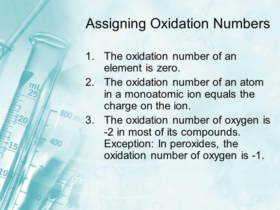 Assigning Oxidation Numbers 1.The oxidation number of an element is zero.