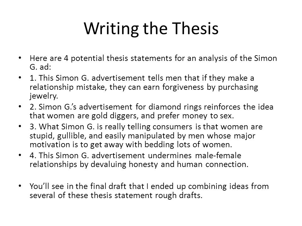 Writing the Thesis Here are 4 potential thesis statements for an analysis of the Simon G. ad: 1. This Simon G. advertisement tells men that if they ma