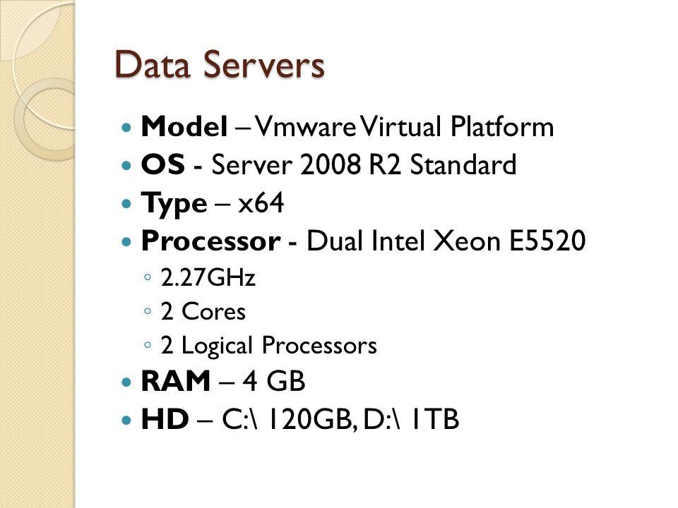 Data Servers Model – Vmware Virtual Platform OS - Server 2008 R2 Standard Type – x64 Processor - Dual Intel Xeon E5520 ◦ 2.27GHz ◦ 2 Cores ◦ 2 Logical Processors RAM – 4 GB HD – C:\ 120GB, D:\ 1TB