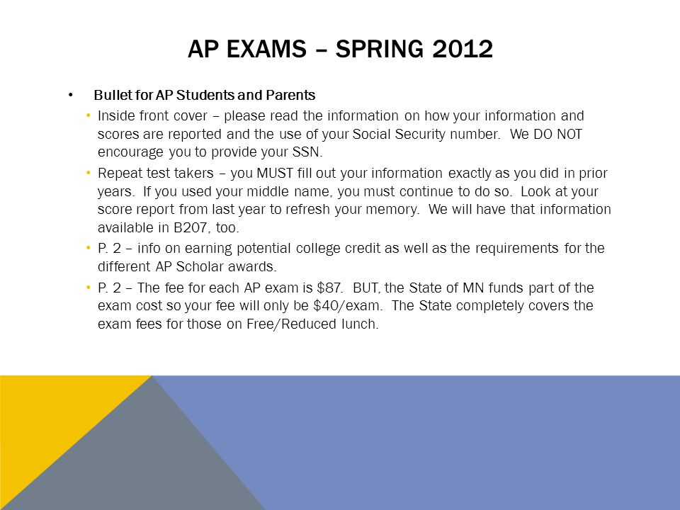 AP EXAMS – RULES AND REGULATIONS P.3 – Cell phone/electronic device policy.