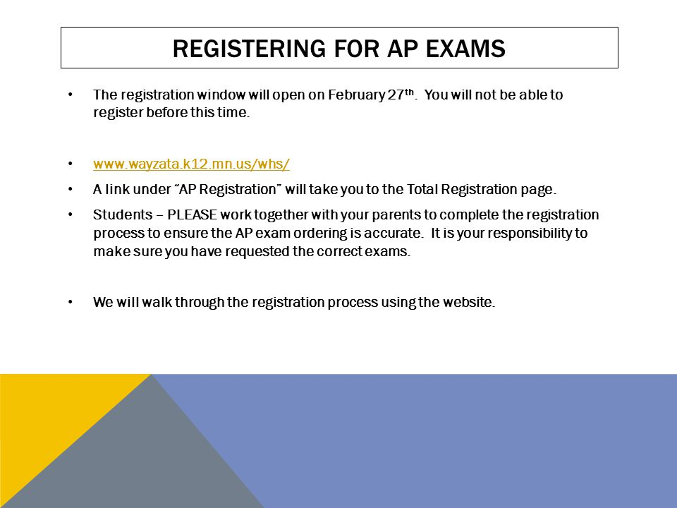 REGISTERING FOR AP EXAMS You must register AND PAY by March 28 th to pay only $40/exam.